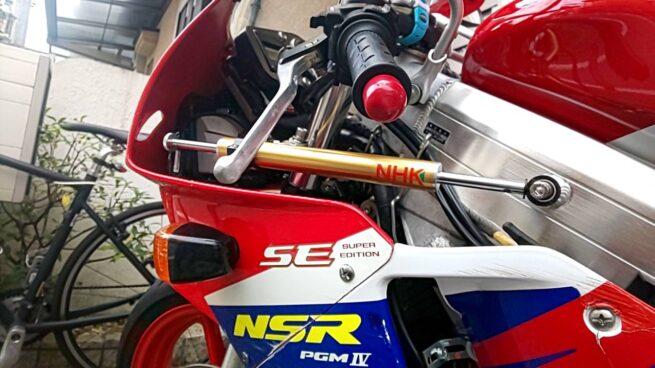 NSR250Rステアリングダンパー&ブレーキキャリパー交換しました